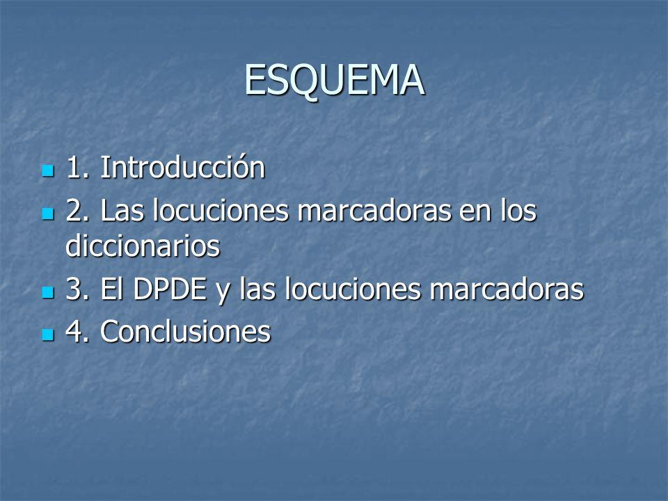 ESQUEMA 1. Introducción 1. Introducción 2. Las locuciones marcadoras en los diccionarios 2. Las locuciones marcadoras en los diccionarios 3. El DPDE y