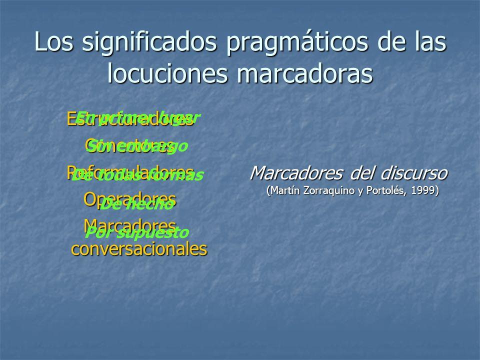 Los significados pragmáticos de las locuciones marcadoras EstructuradoresConectoresReformuladoresOperadores Marcadores conversacionales Marcadores del