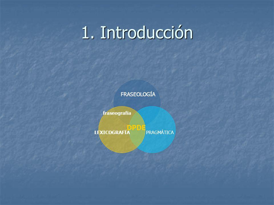 1. Introducción FRASEOLOGÍA fraseografía LEXICOGRAFÍAPRAGMÁTICA DPDE