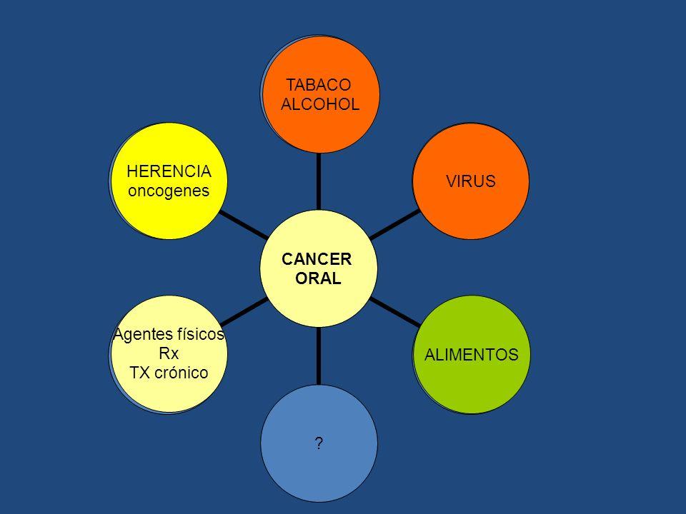 CANCER ORAL TABACO ALCOHOL VIRUS ALIMENTOS? Agentes físicos Rx TX crónico HERENCIA oncogenes VIRUS TABACO ALCOHOL ALIMENTOS HERENCIA oncogenes Agentes