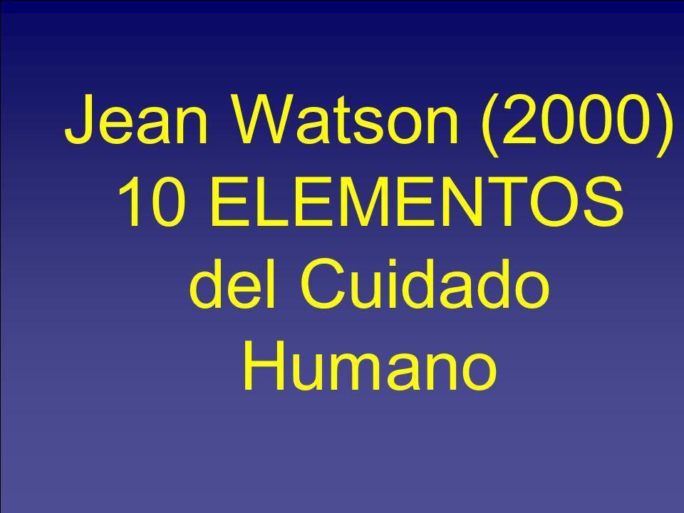 Jean Watson (2000) 10 ELEMENTOS del Cuidado Humano