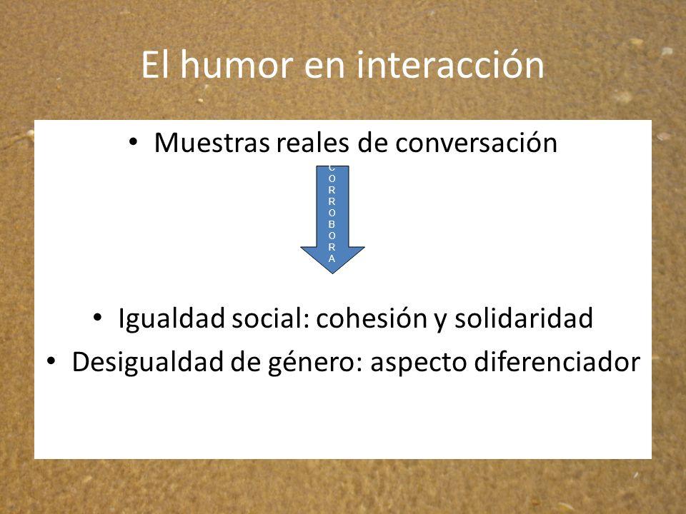 El humor en interacción Muestras reales de conversación Igualdad social: cohesión y solidaridad Desigualdad de género: aspecto diferenciador CORROBORA