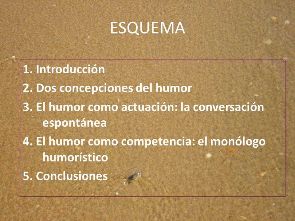 ESQUEMA 1. Introducción 2. Dos concepciones del humor 3. El humor como actuación: la conversación espontánea 4. El humor como competencia: el monólogo