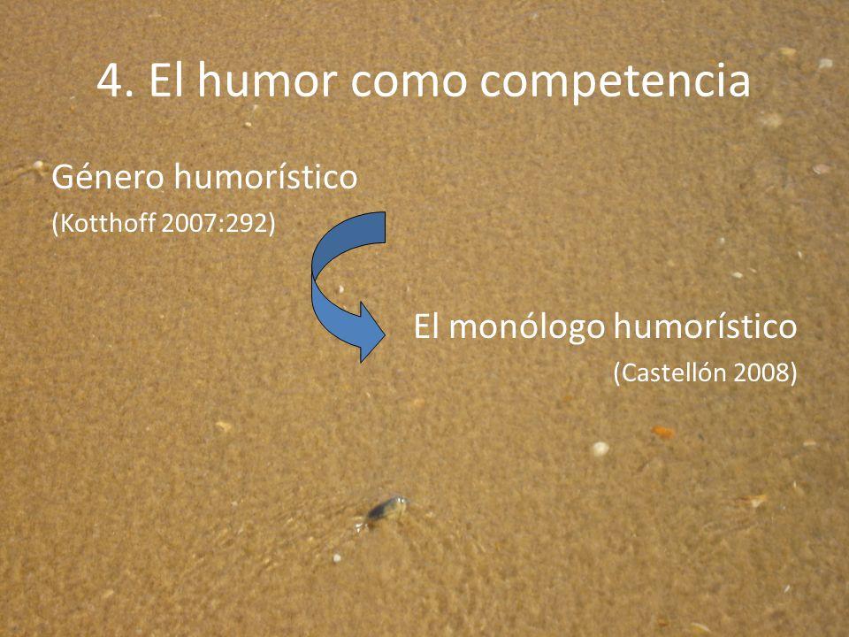 4. El humor como competencia Género humorístico (Kotthoff 2007:292) El monólogo humorístico (Castellón 2008)