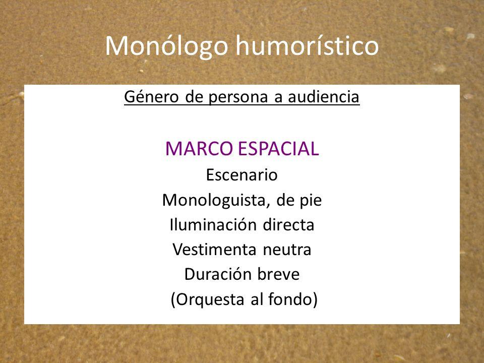 Monólogo humorístico Género de persona a audiencia MARCO ESPACIAL Escenario Monologuista, de pie Iluminación directa Vestimenta neutra Duración breve