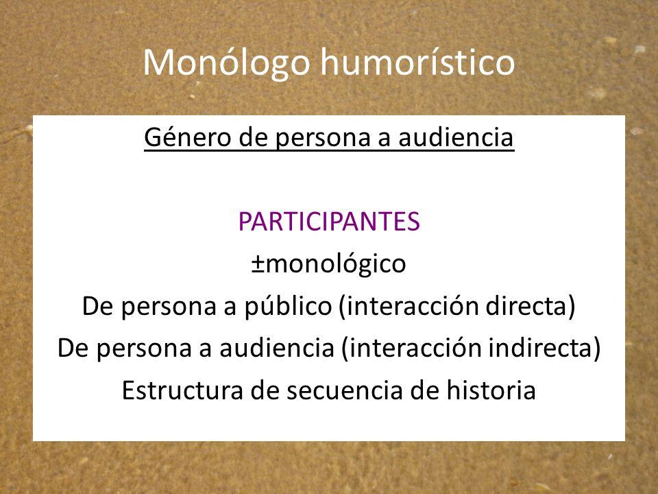 Monólogo humorístico Género de persona a audiencia PARTICIPANTES ±monológico De persona a público (interacción directa) De persona a audiencia (intera