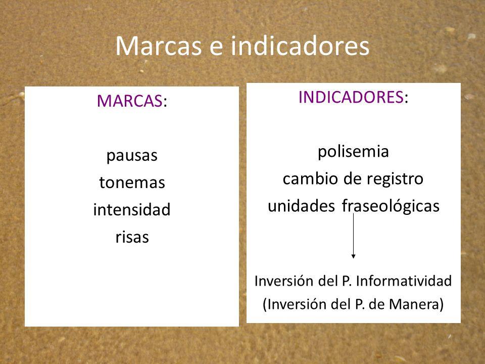 Marcas e indicadores MARCAS: pausas tonemas intensidad risas INDICADORES: polisemia cambio de registro unidades fraseológicas Inversión del P. Informa