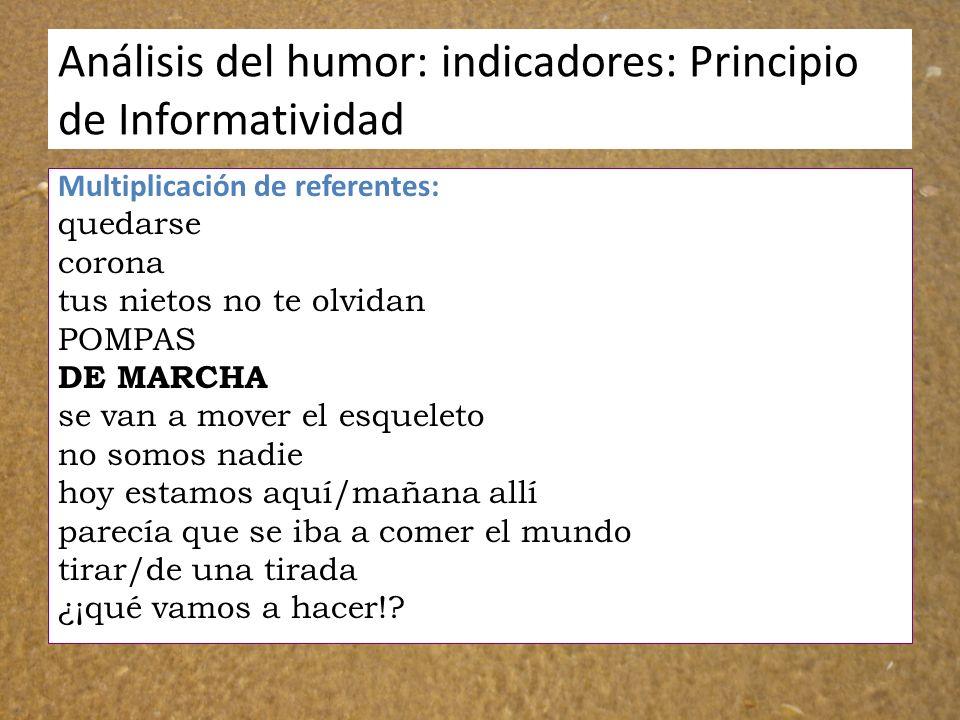 Análisis del humor: indicadores: Principio de Informatividad Multiplicación de referentes: quedarse corona tus nietos no te olvidan POMPAS DE MARCHA s