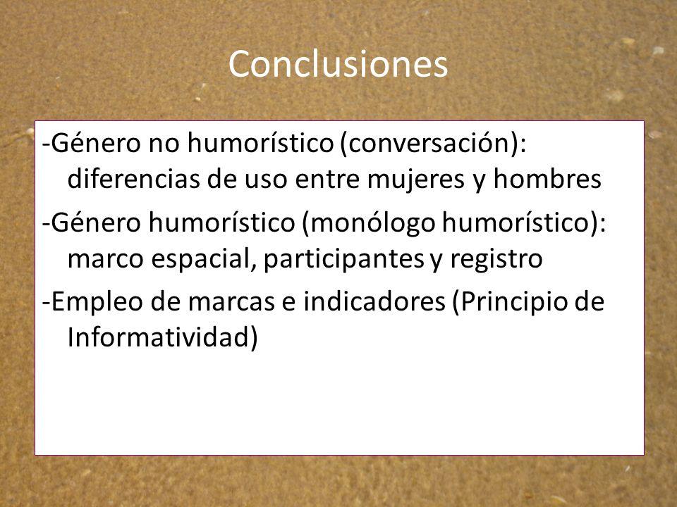 Conclusiones -Género no humorístico (conversación): diferencias de uso entre mujeres y hombres -Género humorístico (monólogo humorístico): marco espac