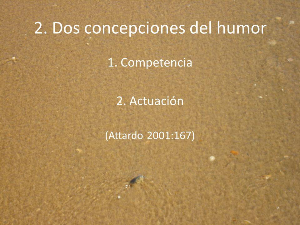 2. Dos concepciones del humor 1. Competencia 2. Actuación (Attardo 2001:167)