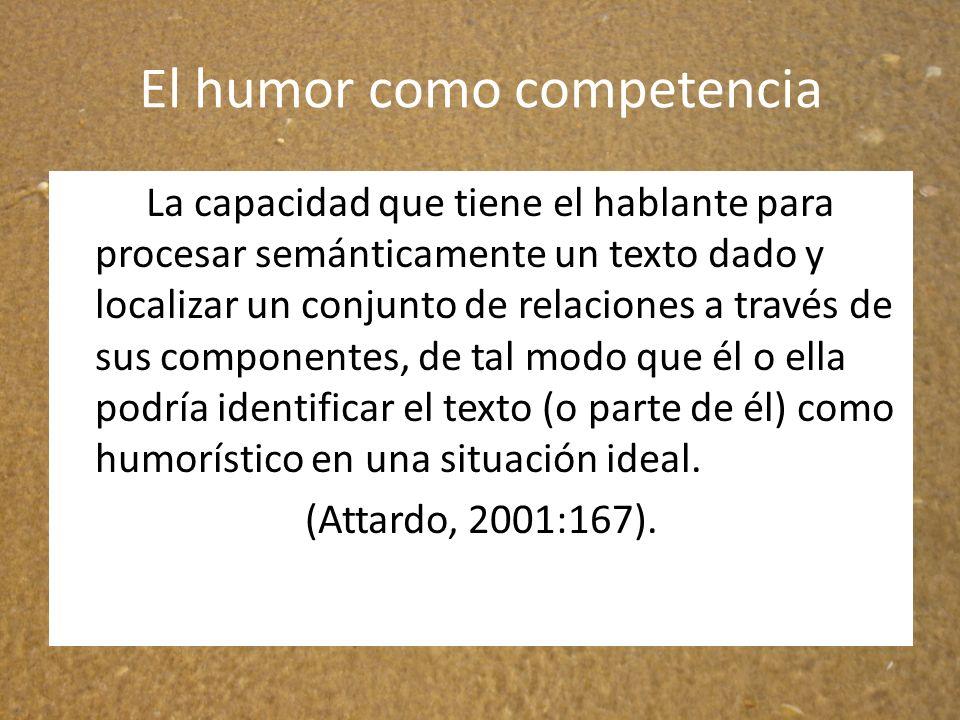 El humor como competencia La capacidad que tiene el hablante para procesar semánticamente un texto dado y localizar un conjunto de relaciones a través