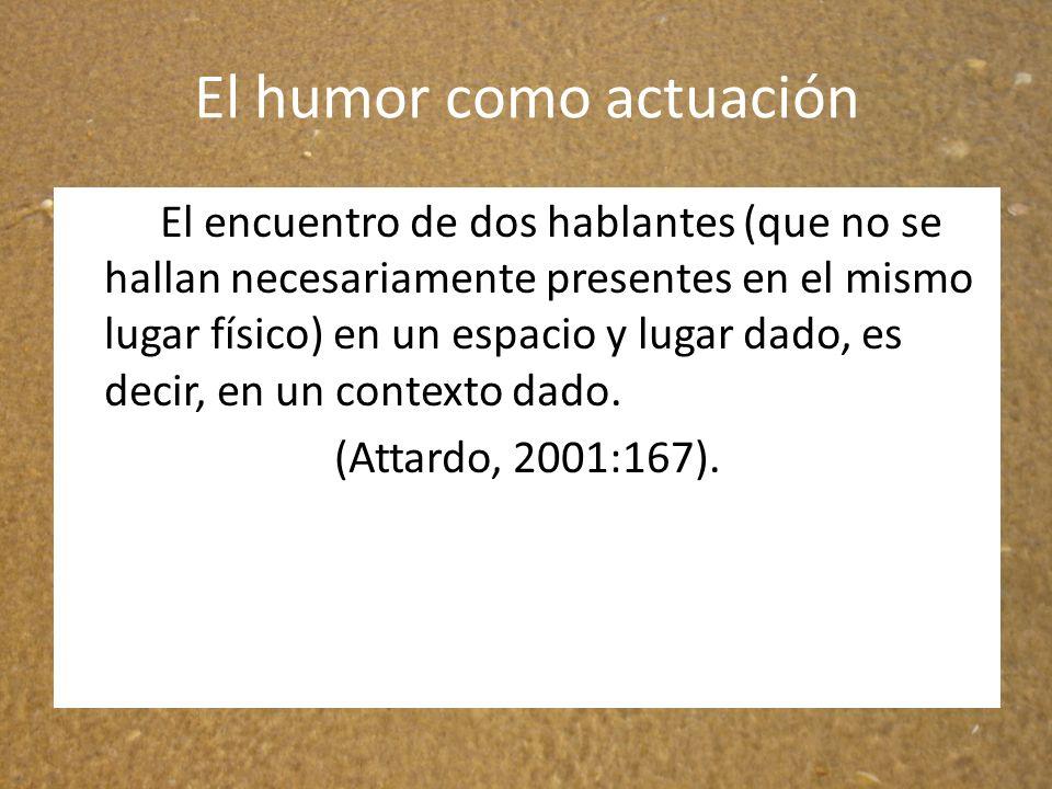 El humor como actuación El encuentro de dos hablantes (que no se hallan necesariamente presentes en el mismo lugar físico) en un espacio y lugar dado,