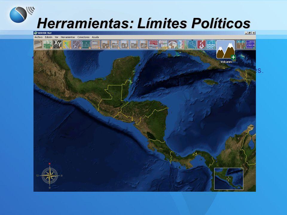 Herramientas: Límites Políticos Límites Políticos –Permite al usuario mostrar/ocultar los límites de los países.
