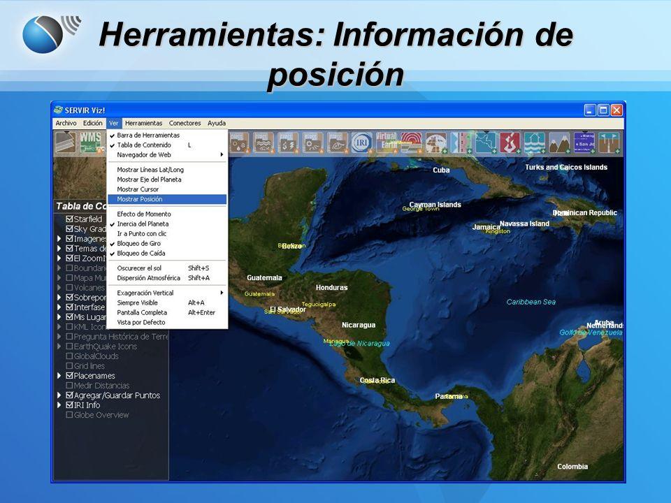 Información de Posición –Muestra la posición actual del cursor.