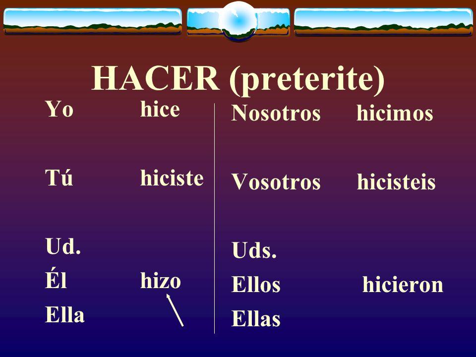 HACER (present) Yohago Túhaces Ud. Élhace Ella Nosotros hacemos Vosotros hacéis Uds. Ellos hacen Ellas