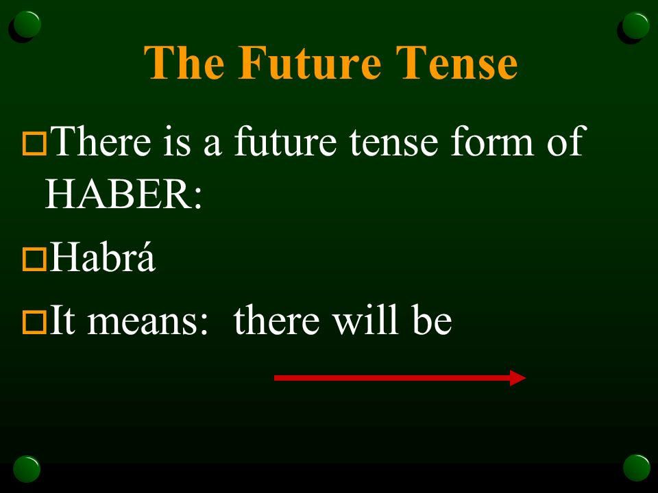 The Future Tense o Remember HABER? o Here are the forms you have learned so far: o Hay, había, and hubo. o There is/are, there used to be, there was.