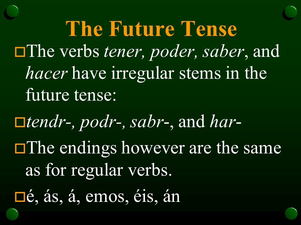 The Future Tense o Remember HABER.