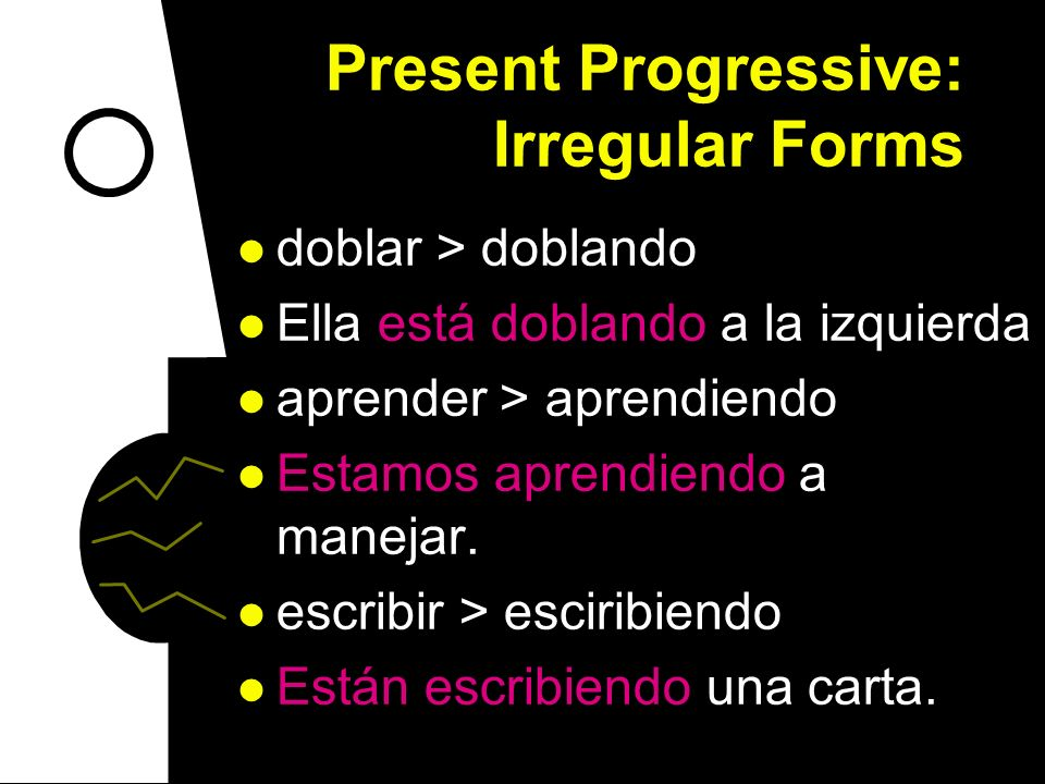 Present Progressive: Irregular Forms Do you remember your regular present progressive forms? To say that something is happening right now, use the pre