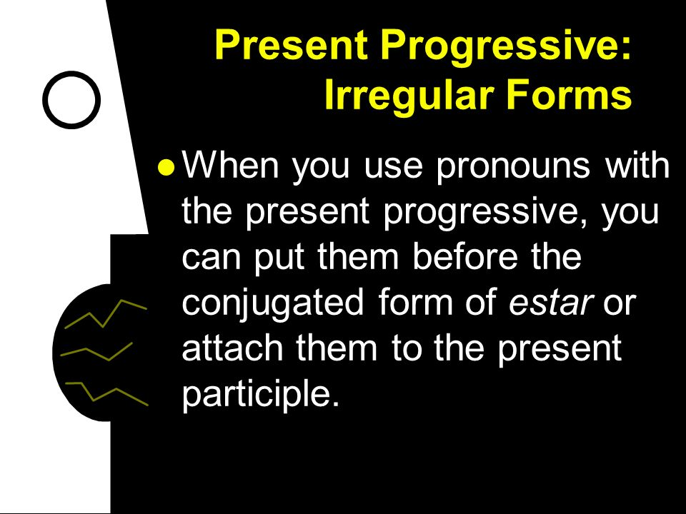 Present Progressive: Irregular Forms In the following -er verbs, the i of -iendo changes to y. creer: creyendo leer: leyendo traer: trayendo