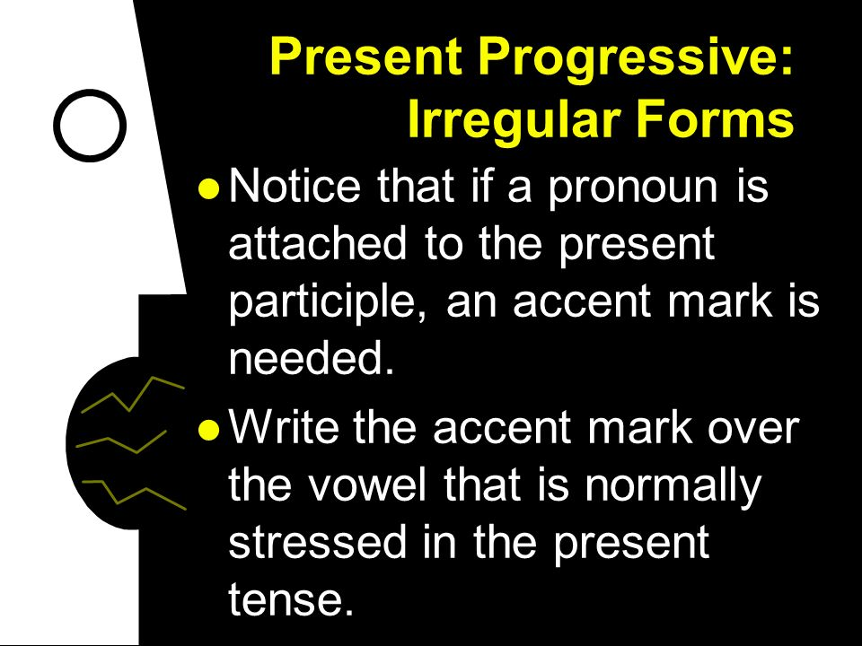 Present Progressive: Irregular Forms When you use pronouns with the present progressive, you can put them before the conjugated form of estar or attac