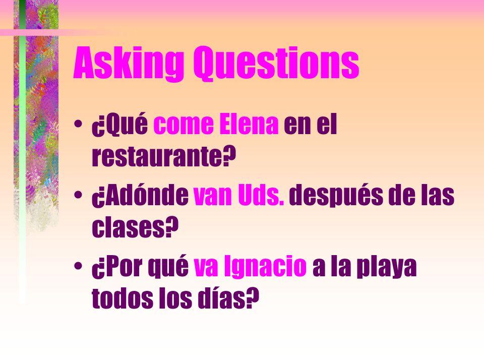 Asking Questions ¿Qué come Elena en el restaurante.