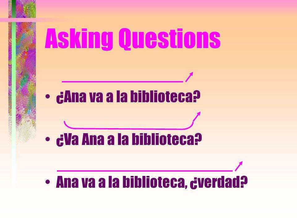 Asking Questions ¿Ana va a la biblioteca? ¿Va Ana a la biblioteca? Ana va a la biblioteca, ¿verdad?