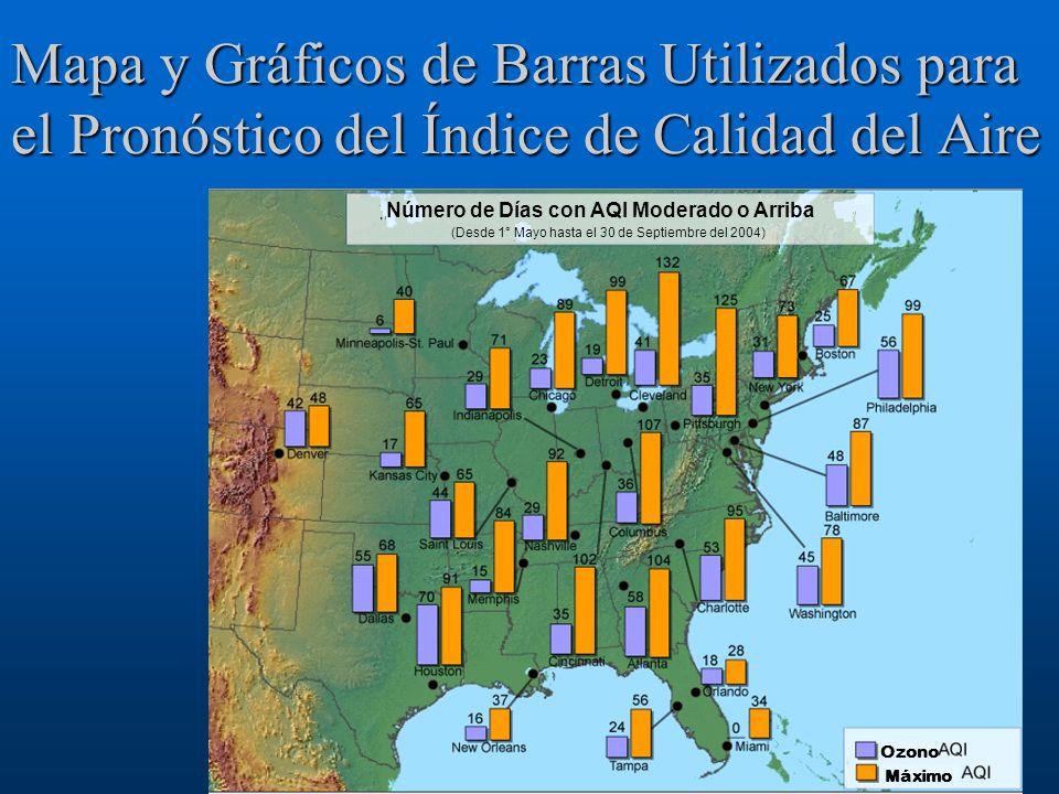 Mapa y Gráficos de Barras Utilizados para el Pronóstico del Índice de Calidad del Aire Número de Días con AQI Moderado o Arriba (Desde 1° Mayo hasta e