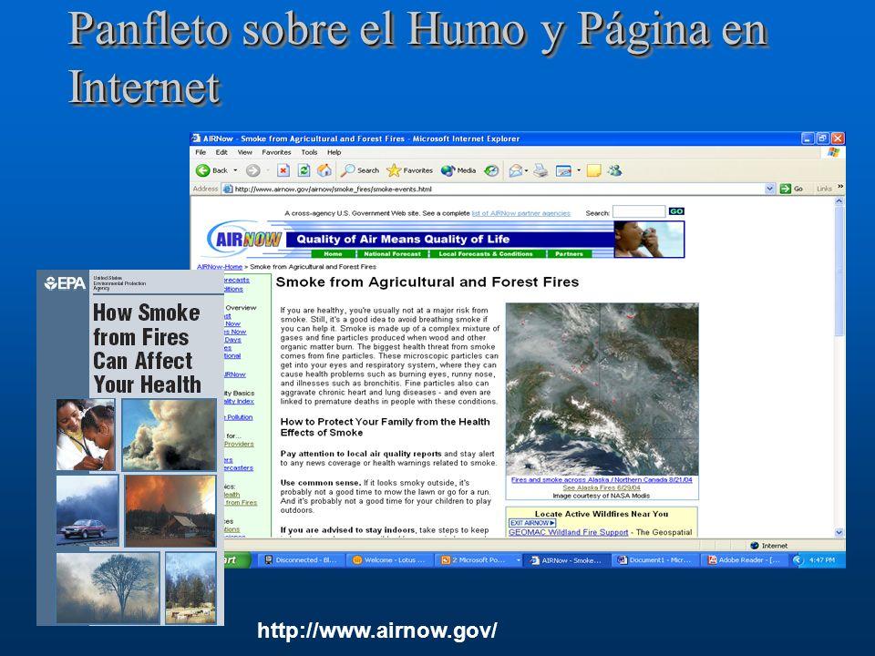 Panfleto sobre el Humo y Página en Internet http://www.airnow.gov/