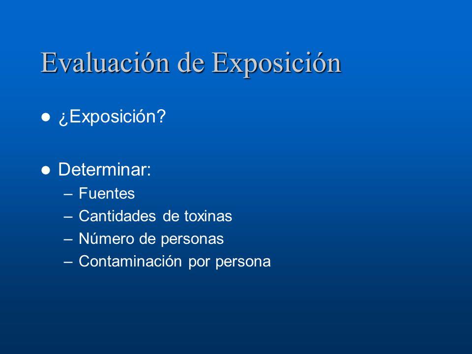 Evaluación de Exposición ¿Exposición? Determinar: –Fuentes –Cantidades de toxinas –Número de personas –Contaminación por persona