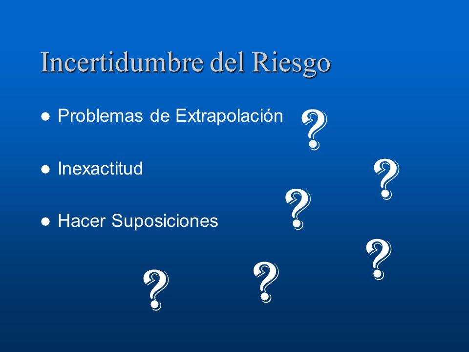 Incertidumbre del Riesgo Problemas de Extrapolación Inexactitud Hacer Suposiciones ? ? ? ? ? ?