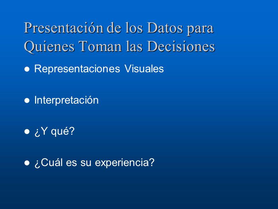 Presentación de los Datos para Quienes Toman las Decisiones Representaciones Visuales Interpretación ¿Y qué? ¿Cuál es su experiencia?