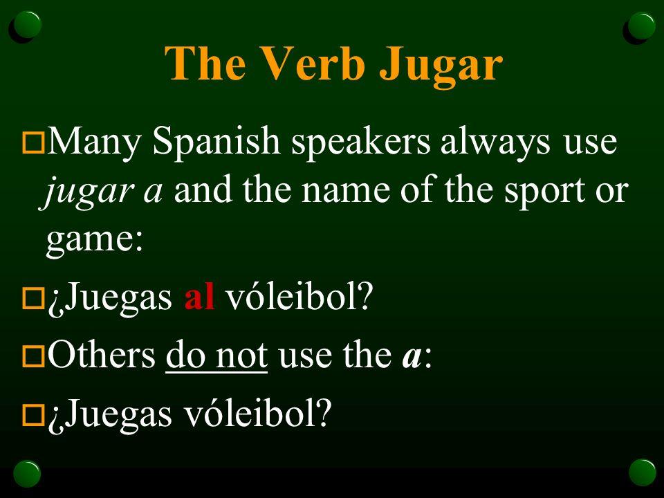 Jugar (To Play) Yojuego Tújuegas Ud. Éljuega Ella Nosotros jugamos Vosotros jugáis Uds. Ellos juegan Ellas
