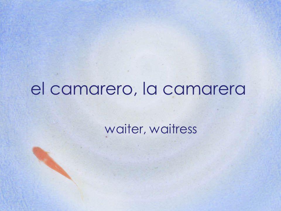 el camarero, la camarera waiter, waitress