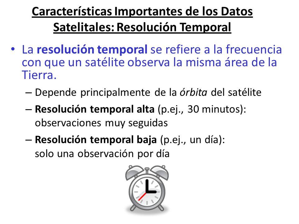 Características Importantes de los Datos Satelitales: Resolución Temporal La resolución temporal se refiere a la frecuencia con que un satélite observ