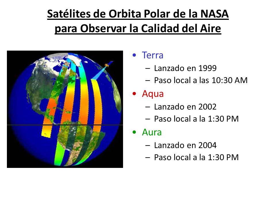 Satélites de Orbita Polar de la NASA para Observar la Calidad del Aire Terra –Lanzado en 1999 –Paso local a las 10:30 AM Aqua –Lanzado en 2002 –Paso l