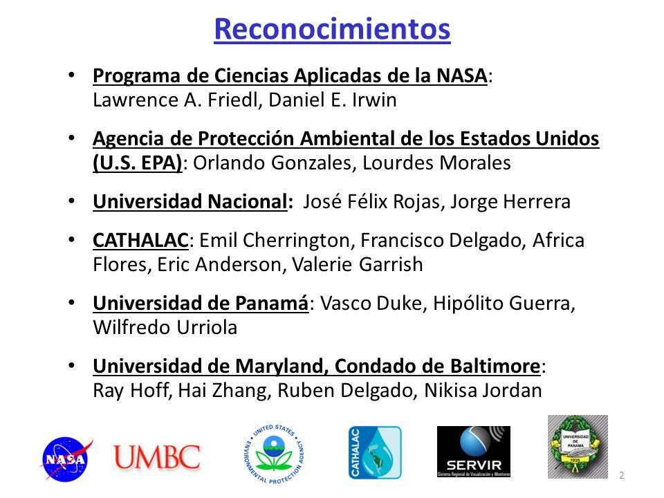 2 Reconocimientos Programa de Ciencias Aplicadas de la NASA: Lawrence A. Friedl, Daniel E. Irwin Agencia de Protección Ambiental de los Estados Unidos