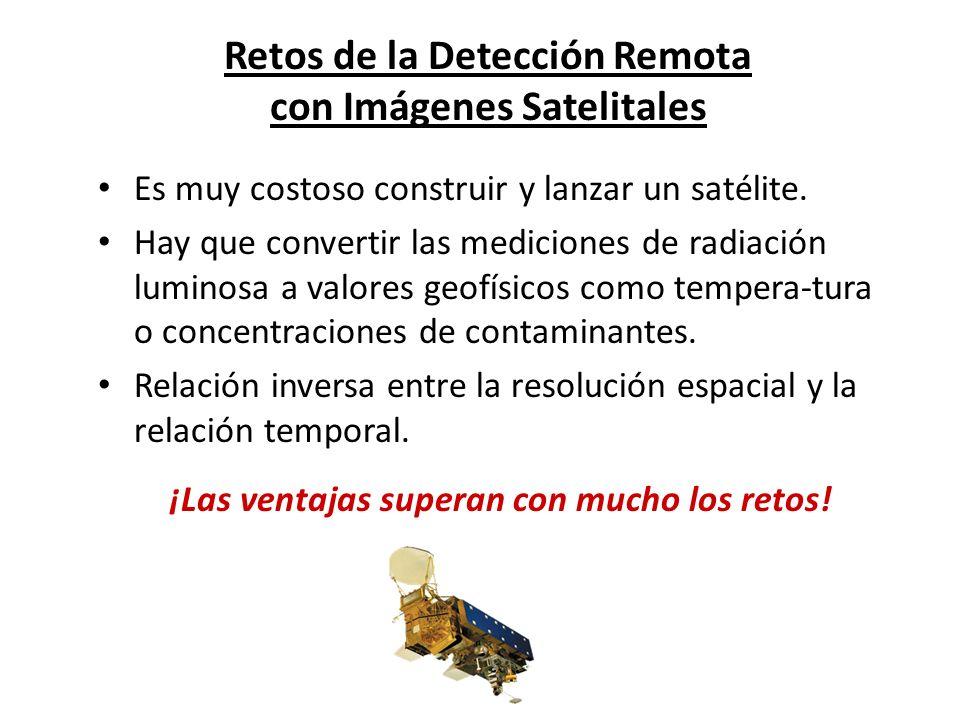 Retos de la Detección Remota con Imágenes Satelitales Es muy costoso construir y lanzar un satélite. Hay que convertir las mediciones de radiación lum