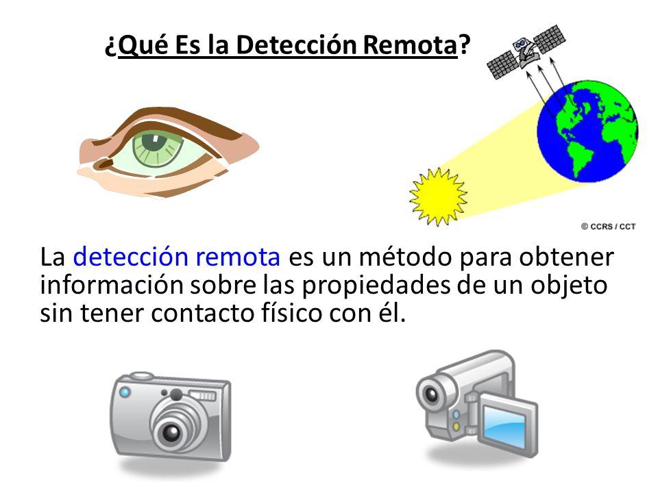 ¿Qué Es la Detección Remota? La detección remota es un método para obtener información sobre las propiedades de un objeto sin tener contacto físico co
