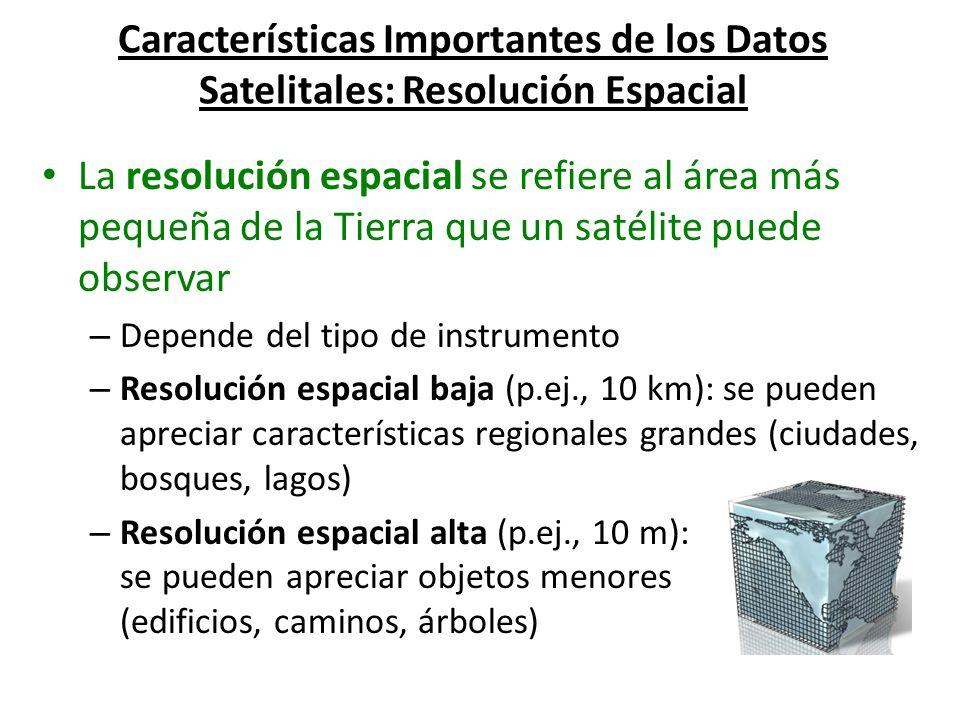 Características Importantes de los Datos Satelitales: Resolución Espacial La resolución espacial se refiere al área más pequeña de la Tierra que un sa
