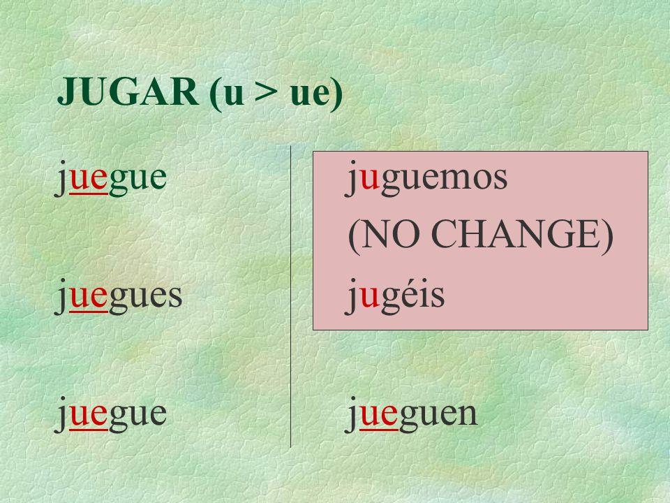 JUGAR (u > ue) juegue juegues juegue juguemos (NO CHANGE) jugéis jueguen