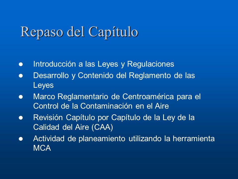 Repaso del Capítulo Introducción a las Leyes y Regulaciones Desarrollo y Contenido del Reglamento de las Leyes Marco Reglamentario de Centroamérica pa