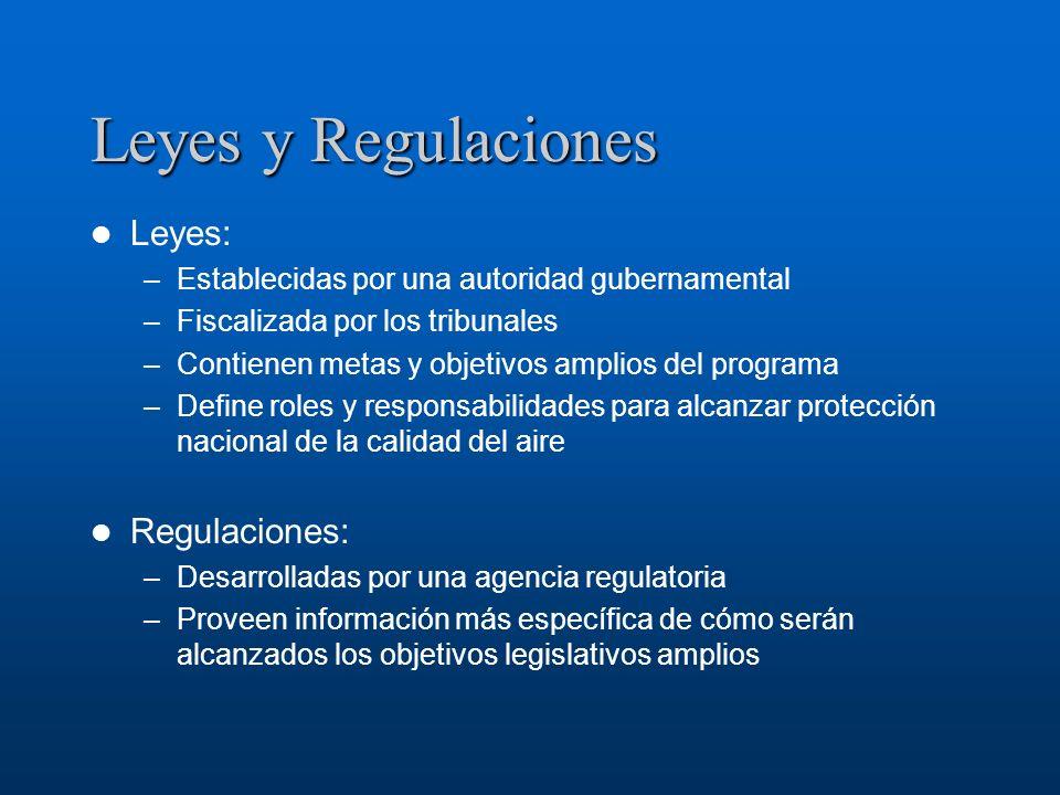 Leyes y Regulaciones Leyes: –Establecidas por una autoridad gubernamental –Fiscalizada por los tribunales –Contienen metas y objetivos amplios del pro