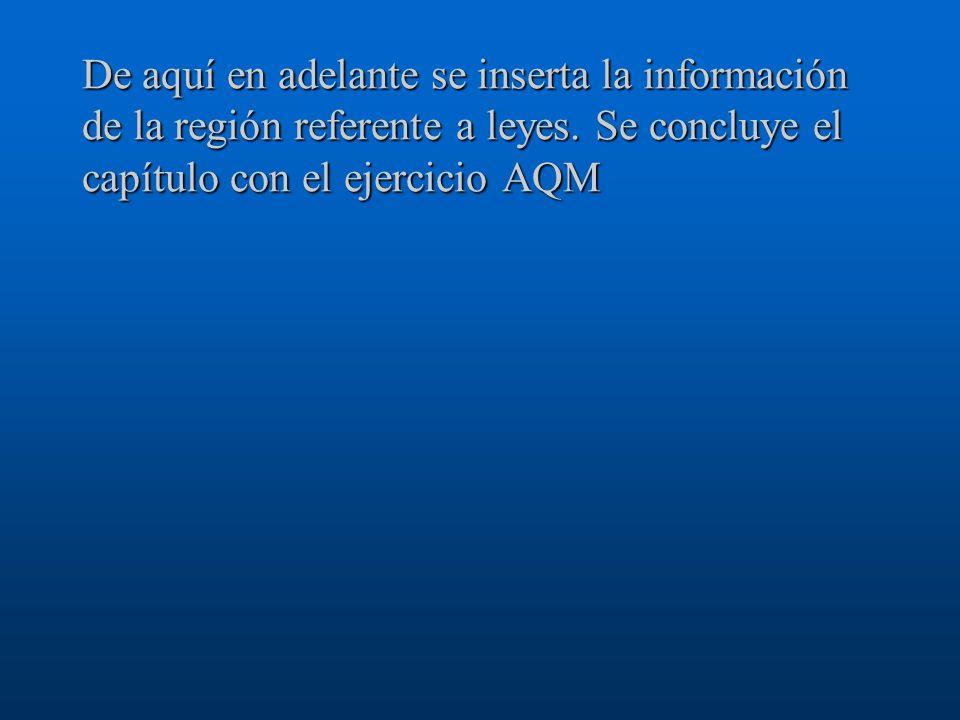 De aquí en adelante se inserta la información de la región referente a leyes. Se concluye el capítulo con el ejercicio AQM
