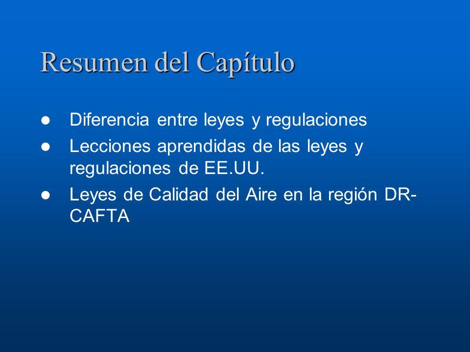 Resumen del Capítulo Diferencia entre leyes y regulaciones Lecciones aprendidas de las leyes y regulaciones de EE.UU. Leyes de Calidad del Aire en la
