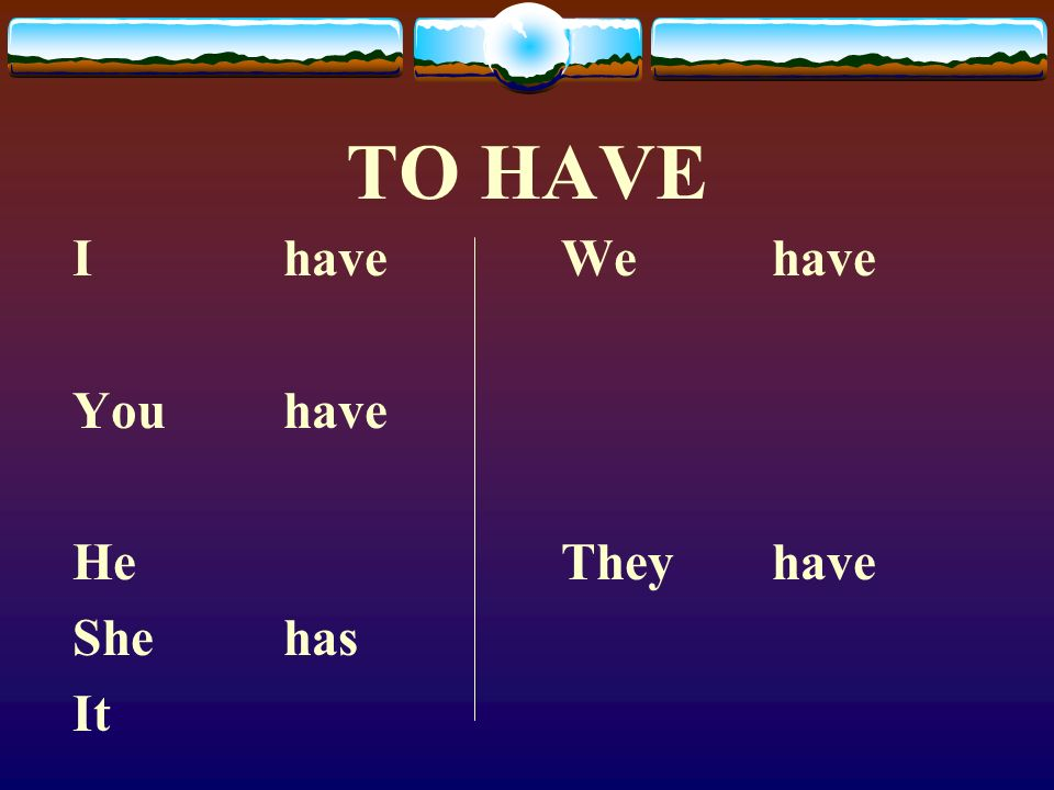 The Verb TENER Here is the verb To Have in English.