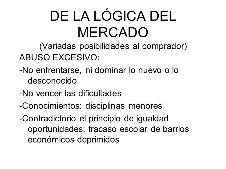 DE LA LÓGICA DEL MERCADO (Variadas posibilidades al comprador) ABUSO EXCESIVO: -No enfrentarse, ni dominar lo nuevo o lo desconocido -No vencer las di