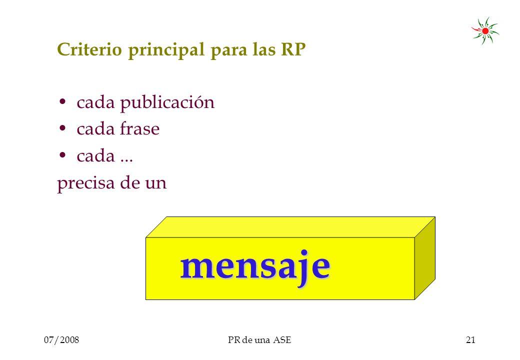 07/2008PR de una ASE21 Criterio principal para las RP cada publicación cada frase cada...