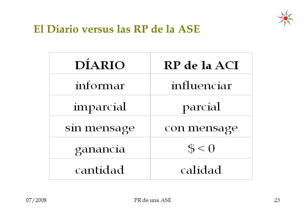 07/2008PR de una ASE23 El Diario versus las RP de la ASE
