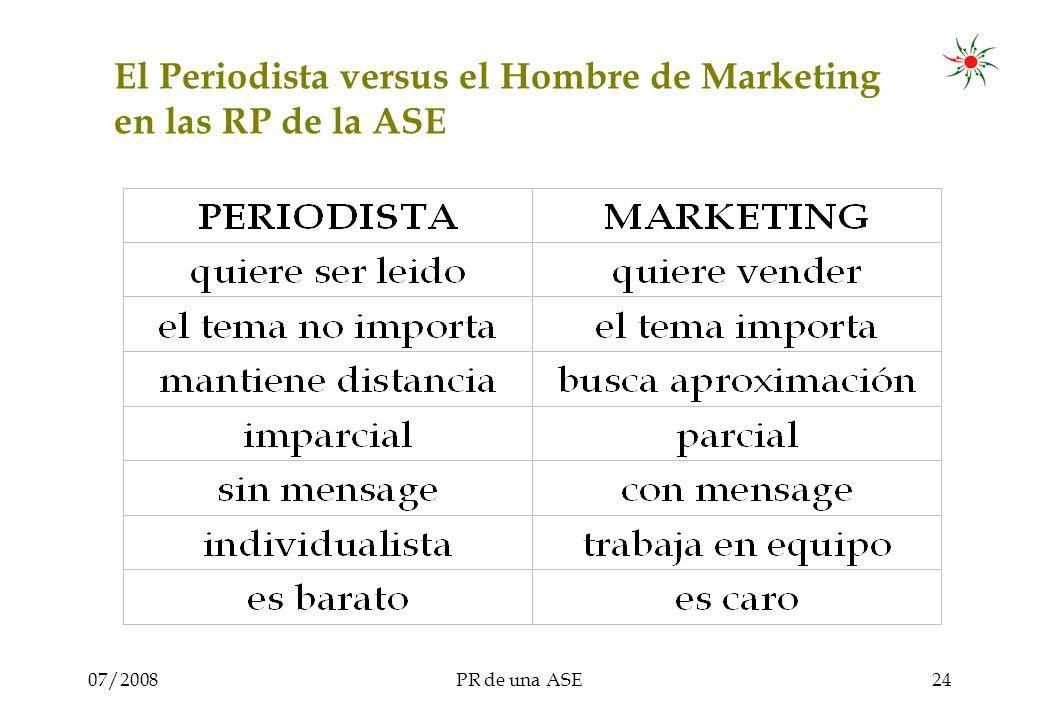 07/2008PR de una ASE24 El Periodista versus el Hombre de Marketing en las RP de la ASE