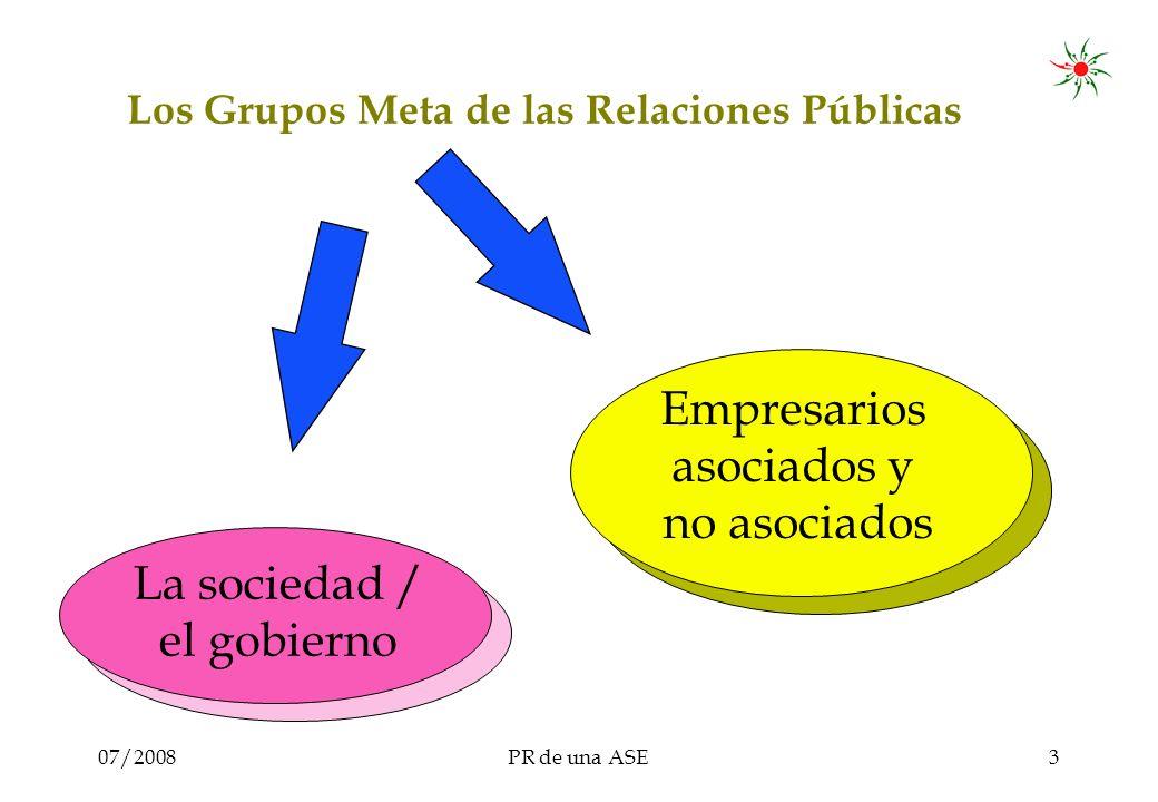 07/2008PR de una ASE3 Los Grupos Meta de las Relaciones Públicas La sociedad / el gobierno Empresarios asociados y no asociados